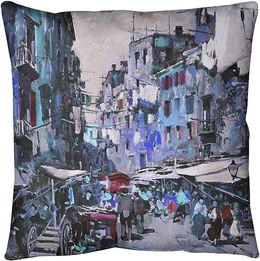 Amazon Com Artverse Felice Giordano Blue Market In Naples Pillow W Removable Insert Spun Polyester 20 X 20 Home Kitchen