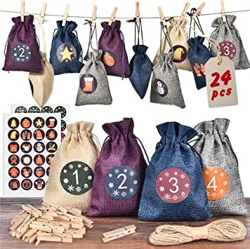 Advent Gift Paper Bag Set with Sticker Numbers and Sturdy Kraft Bags Christmas Clothes Pins Make your own countdown calendar