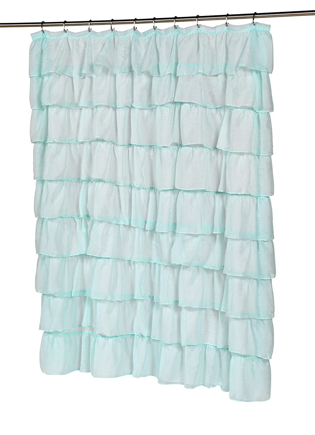 Amazon Carnation Home Fashions Carmen Crushed Voile Ruffled Tier Shower Curtain 70 Inch By 72 InchSpa Blue Kitchen