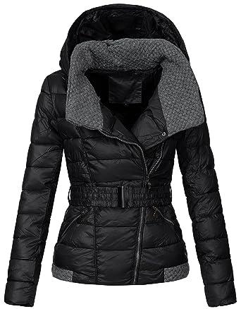 Zarlena damen winterjacke mantel strickkragen parka steppjacke kapuze