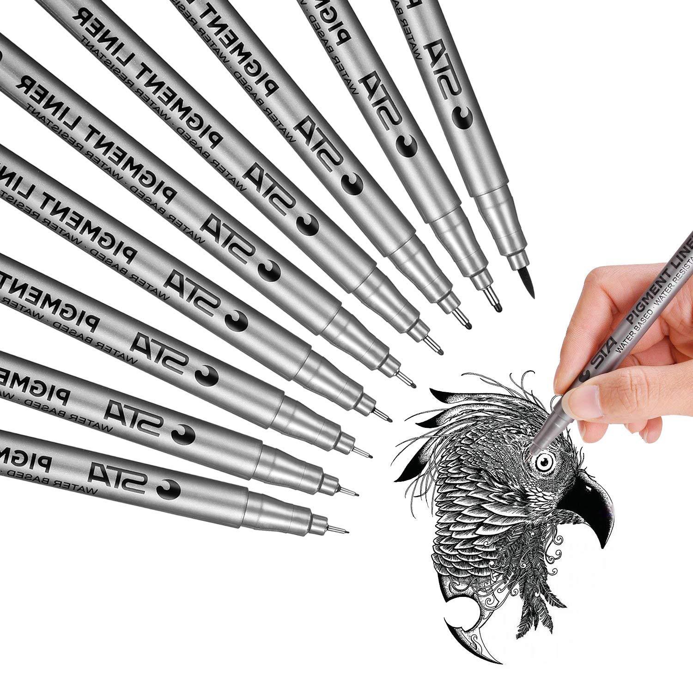 Bolígrafos De Tinta, Lypumso Rotuladores de Punta Fina , Negro-Tinta De Archivo a Prueba de Agua Bolígrafos Micron Liner Punto Fino, Boceto, Animé, ...