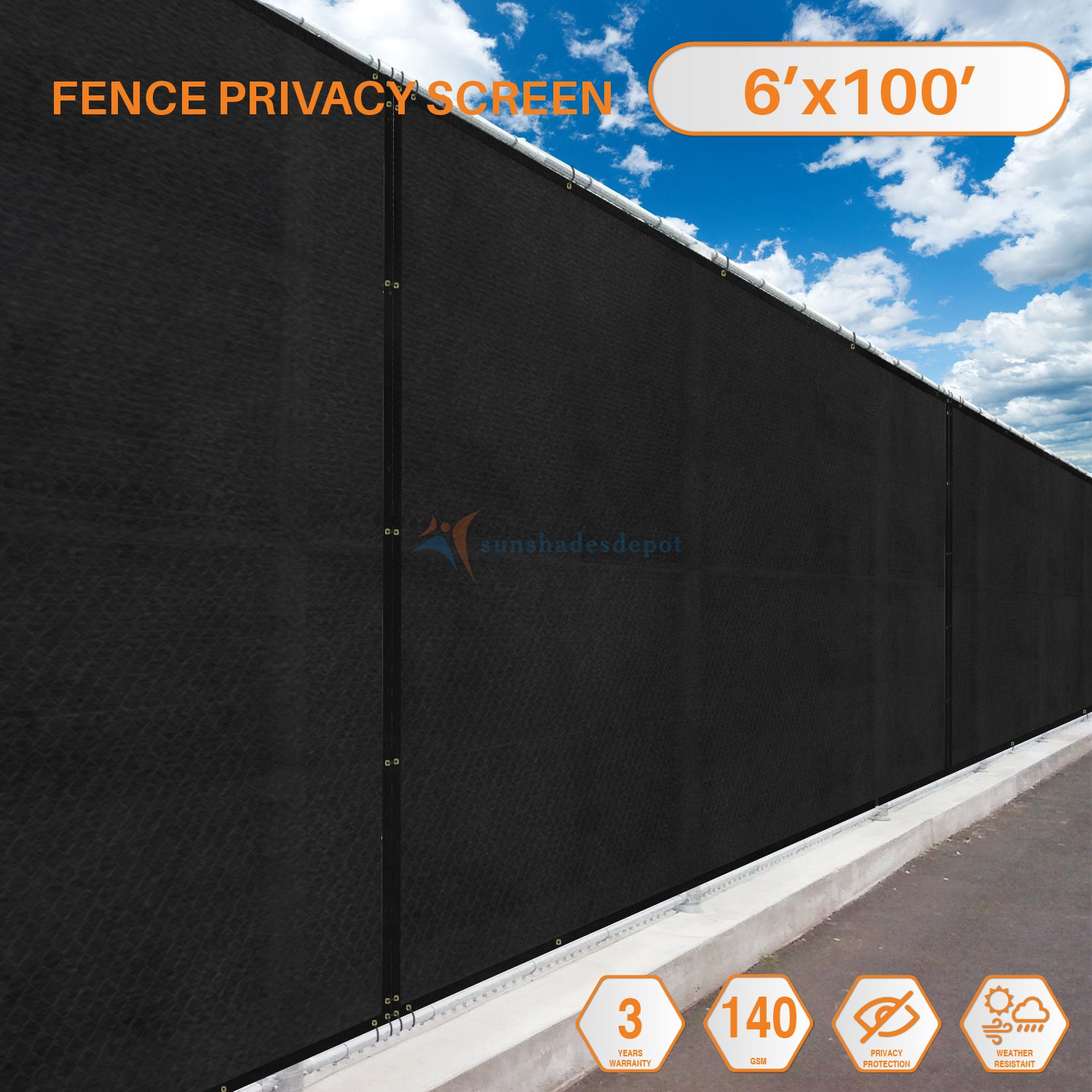 Sunshades Depot 6' FT x 100' FT 0'x6' Black Residential & Commercial Privacy Fence Screen Custom Available 3 Years Warranty 140 GSM 88% Blockage