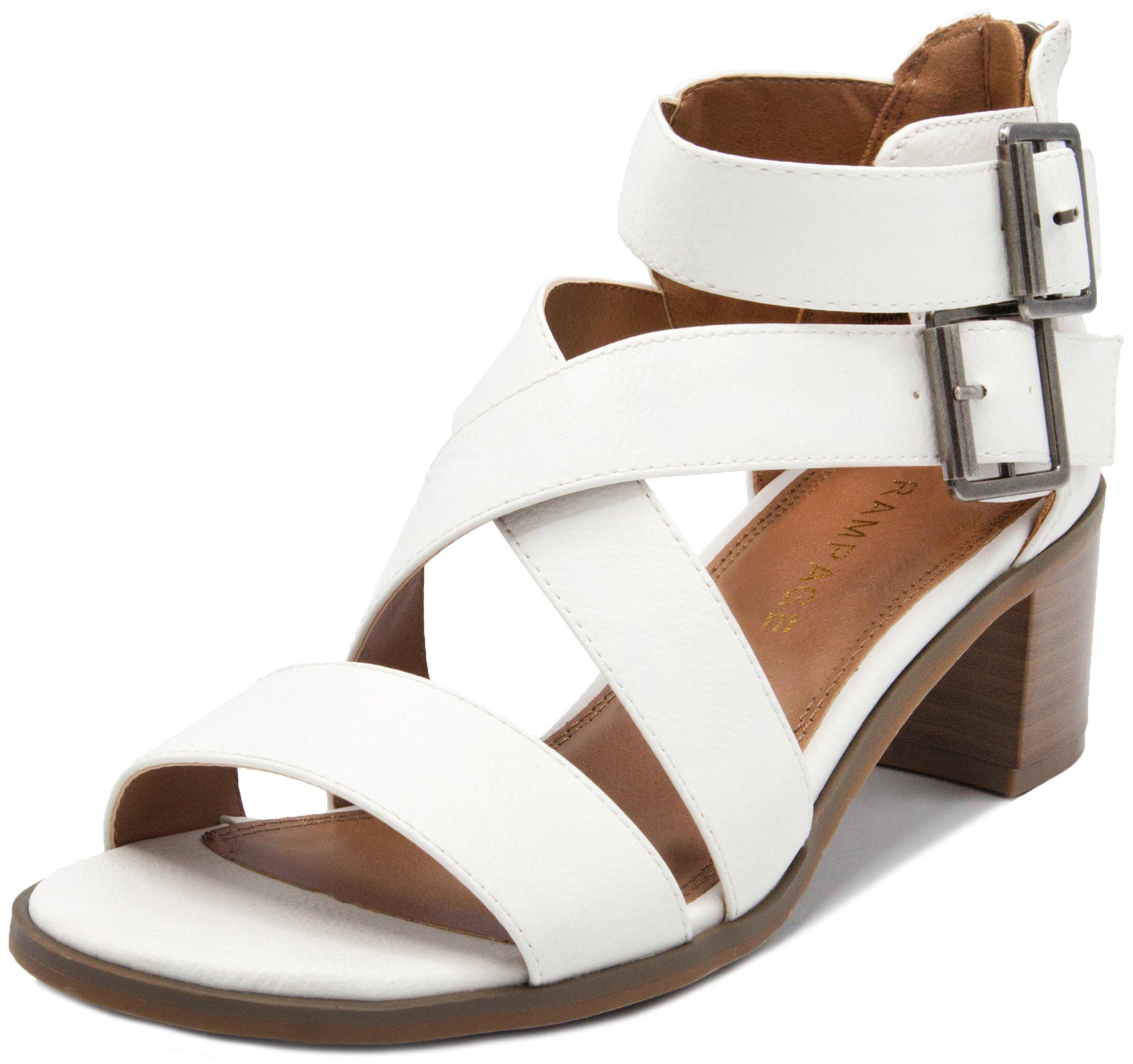 Rampage Women's Havarti Sandal, White Smooth, 6.5 M US