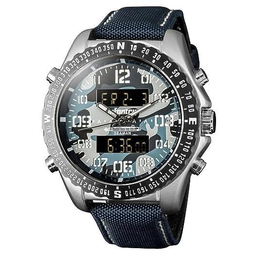 Infantería para hombre Dual Display táctico militar Multifunción deporte reloj de pulsera analógico con banda de nailon: Amazon.es: Relojes