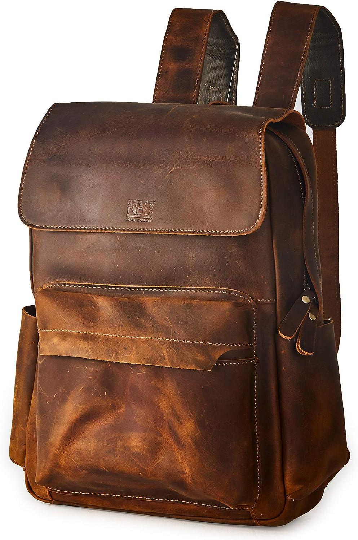 BRASS TACKS Leathercraft Men's Vintage Handmade Full Crazy Horse Genuine Leather Backpack 15.6 inch Laptop Bookbag