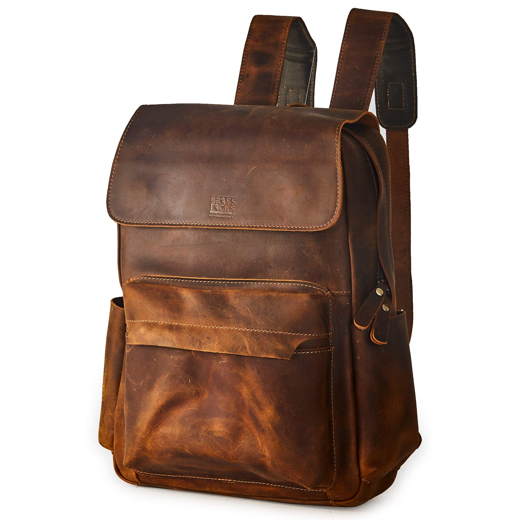 RASS TACKS Leathercraft Men's Full Crazy Horse Genuine Leather Backpack 15.6''Laptop Vintage Style Bookbag