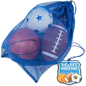 Mini Sports Balls in Mesh Bag - Small Inflatable Football, Soccer Ball, and Basketball for Kids - Youth Sports Equipment Set - Toddler & Baby Toys