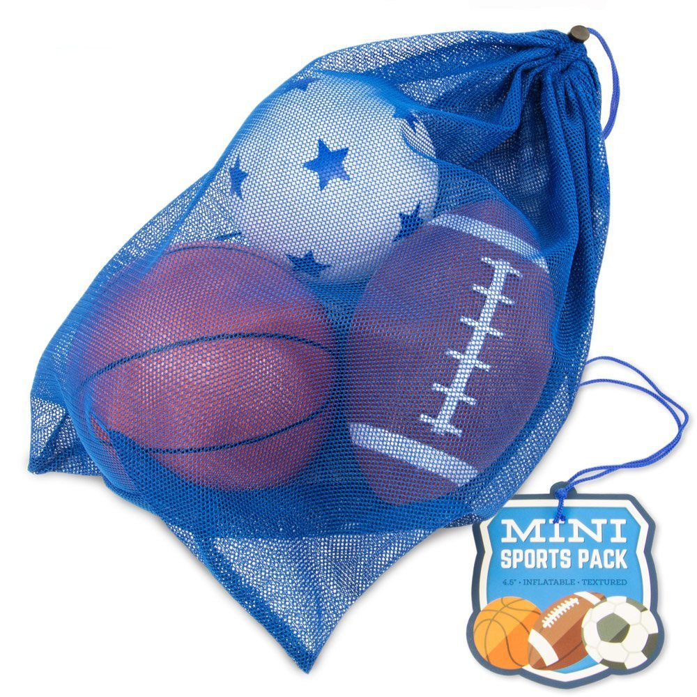 K-Roo Sports Mini Sports Pack: Inflatable Football, Soccer Ball, and Basketball in a Mini Mesh Coaches Bag by K-Roo Sports