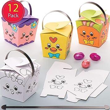 Baker Ross Cajitas de regalos de Pascua para colorear (Paquete de 12) Manualidades de Pascua para niños que se pueden usar para búsquedas de huevos de Pascua: Amazon.es: Juguetes y juegos
