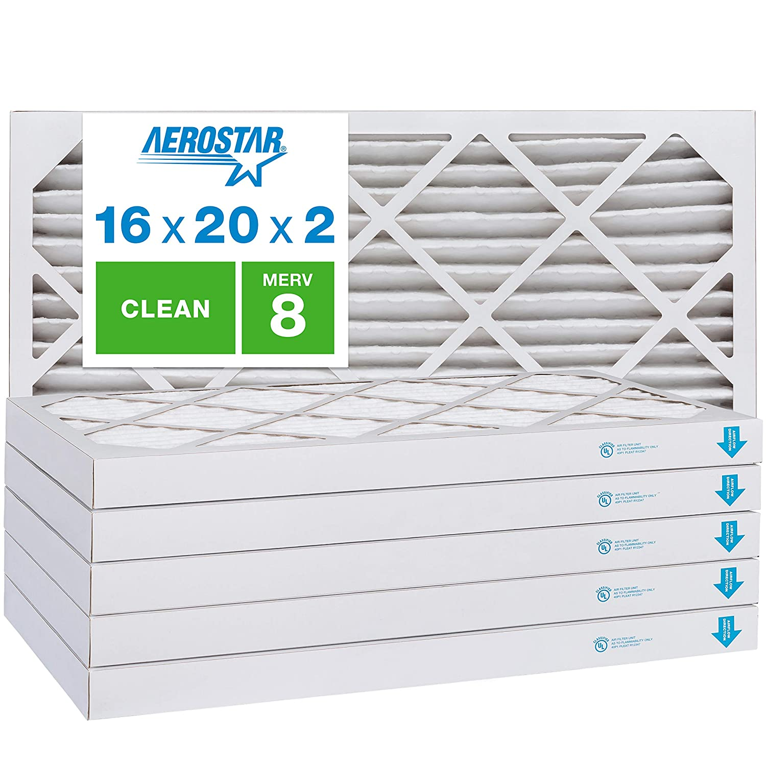 "Aerostar Clean House 16x20x2 MERV 8 Pleated Air Filter, Made in the USA, (Actual Size: 15 1/2""x19 1/2""x1 3/4""), 6-Pack, White"