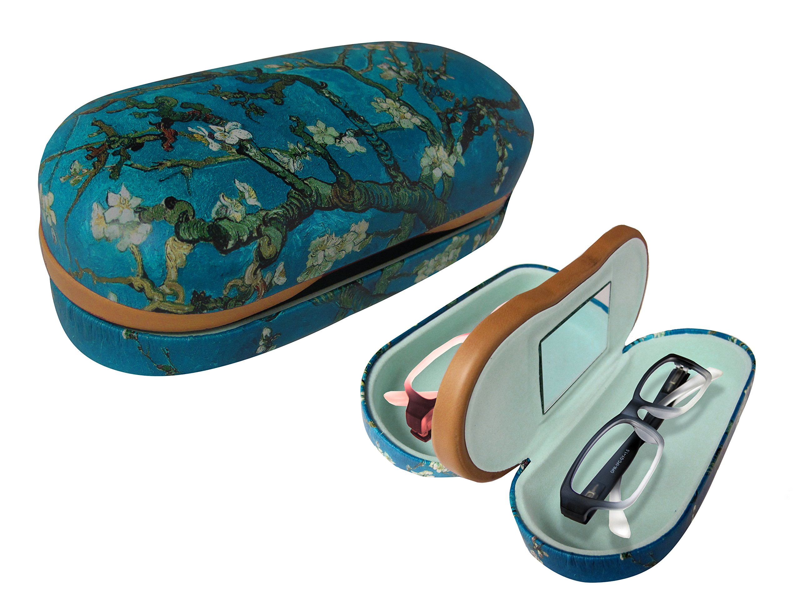 Dual Glasses Case for Two Frames - Double Layer Clamshell Hard Protective Case with Soft Felt Interior with Built-In Mirror – Blue with Tree Print and Matte Finish - By OptiPlix