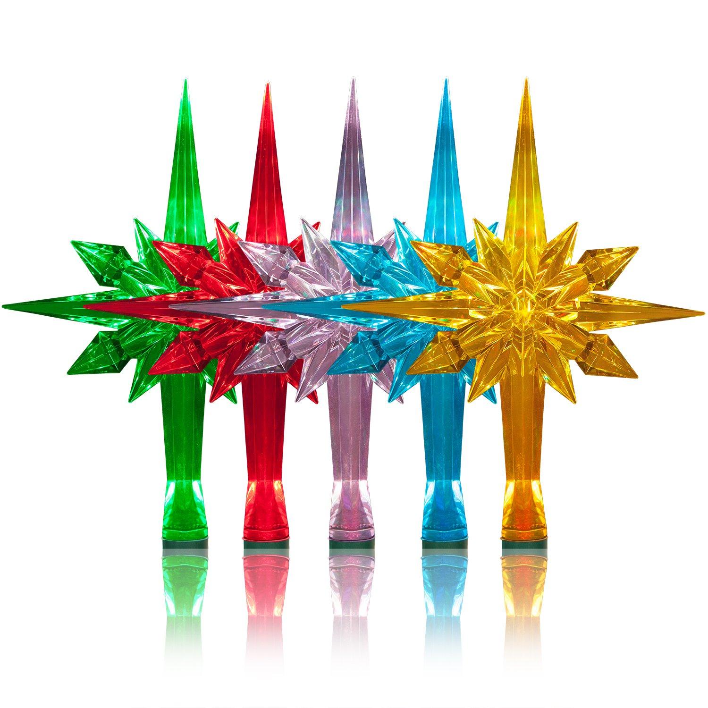 GKI Bethlehem Lighting Reflections Novelty Christmas Tree Topper with Morphing LED and Mounting Arm, Bethlehem Star
