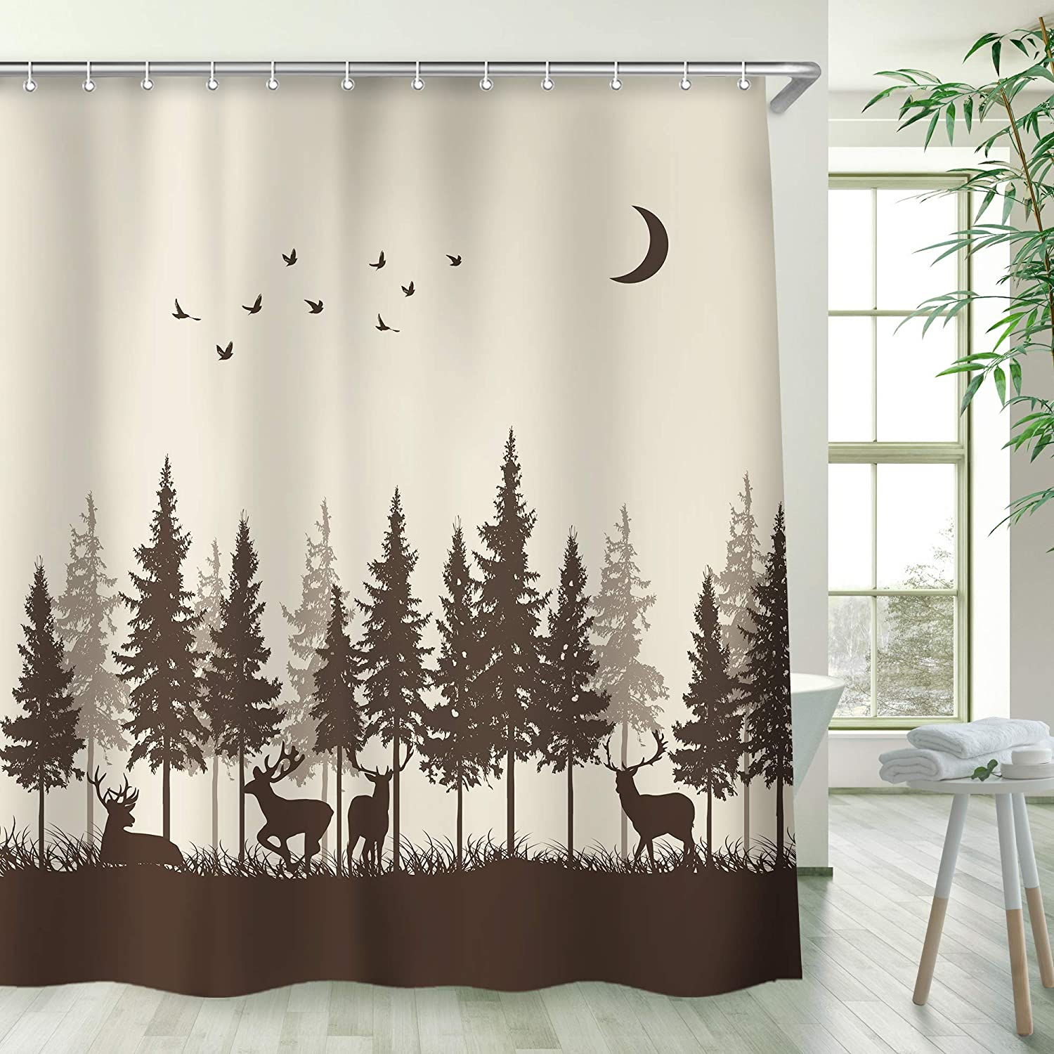 Stacy Fay Deer in The Forest Shower Curtain Cabin with 12 Hooks Fog Bird Mountain Hunting Theme (Brown