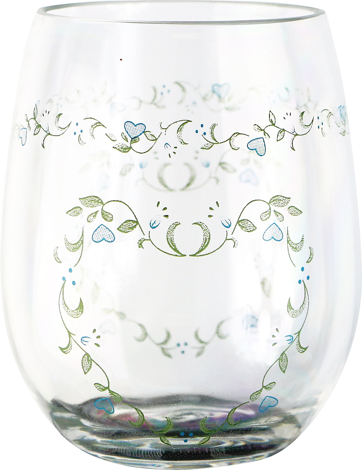 Corelle Coordinates by Reston Lloyd Acrylic Country Cottage Stemless Wine Glasses (Set of 4), 16 oz, Clear