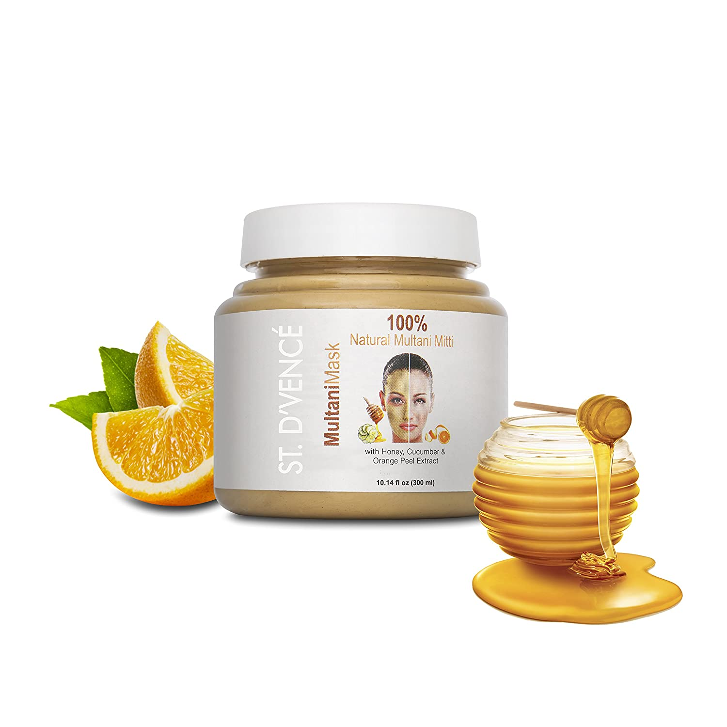 ST. D'VENCE Multani Mask Face Pack with Honey, Cucumber and Orange Peel Extracts, 300ml