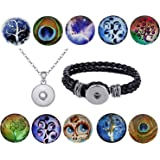 36 Click Buttons Morella Set Knöpfe Klicks 18 mm oder 20 mm Durchmesser mit Halskette Armband Glitzer Strass Steine Variation