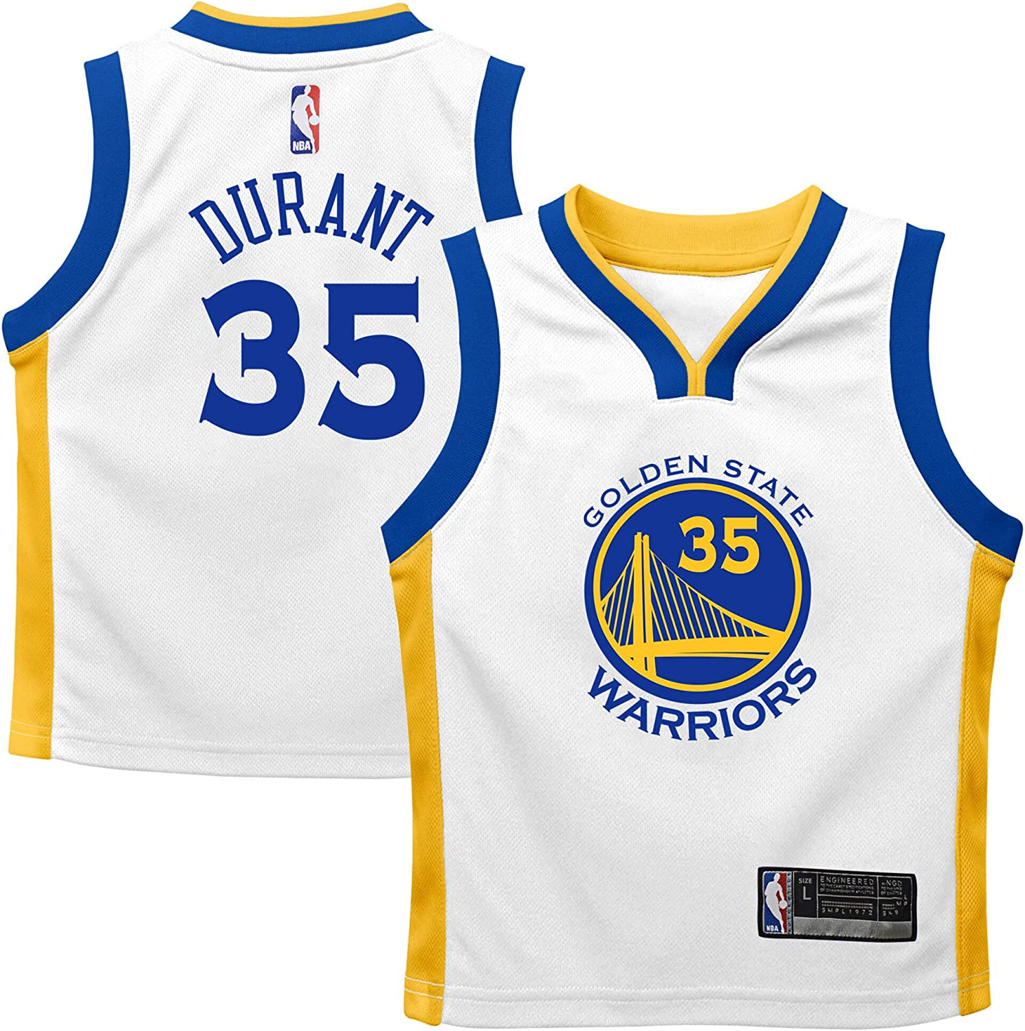 Outerstuff Kevin Durant Golden State Warriors White Kids 4-7 Home Player Jersey