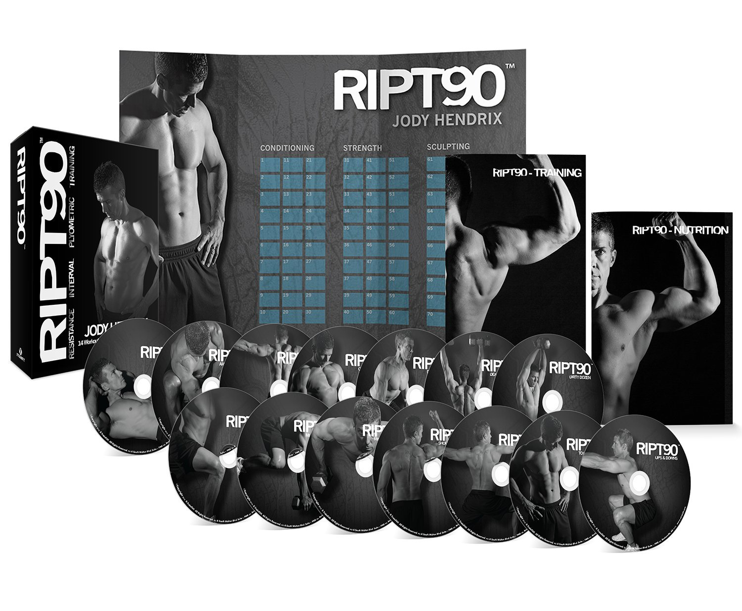 RIPT90: 90 Day 14-DVD Workout Program with 14 Exercise Videos Training Calendar