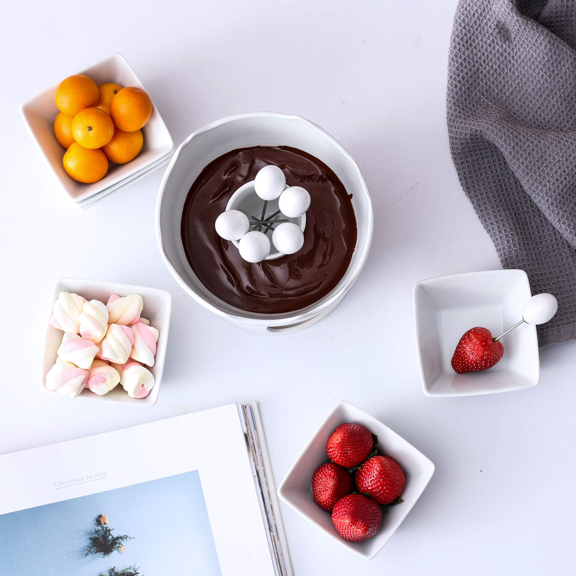 Malacasa Fondue Pot Set Two-layer Porcelain Tealight Chocolate Fondue with Dipping Bowls and Forks for 6, Cheese Fondue or Butter Fondue Set, White by Malacasa (Image #5)