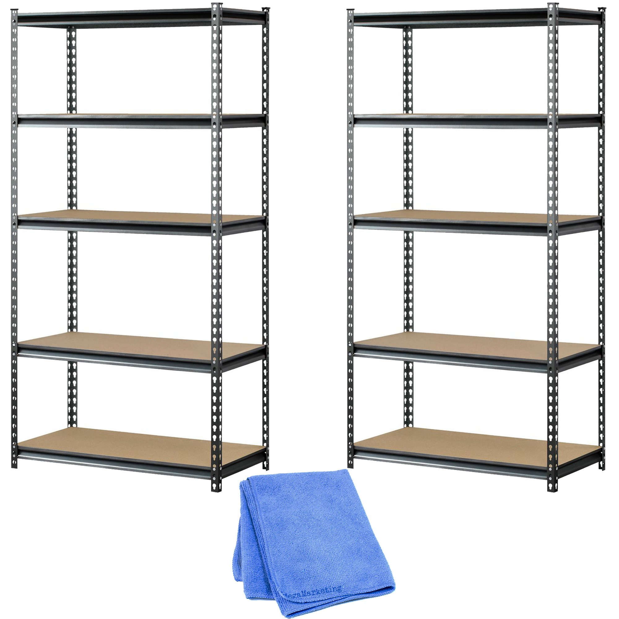 Muscle Rack UR361872PB5PAZ-SV Silver Vein Steel Storage Rack, 5 Adjustable Shelves, 4000 lb. Capacity, 72'' Height x 36'' Width x 18'' Depth (2-Pack) with Dust Cloth by Muscle Rack