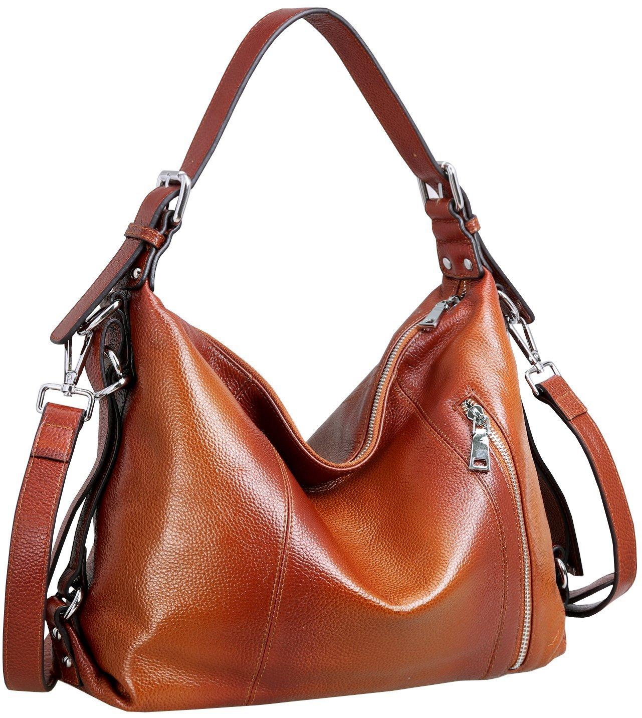 Heshe Vintage Women's Leather Shoulder Handbags Totes Top Handle Bags Cross Body Bag Satchel Handbag Ladies Purses (Sorrel-R)