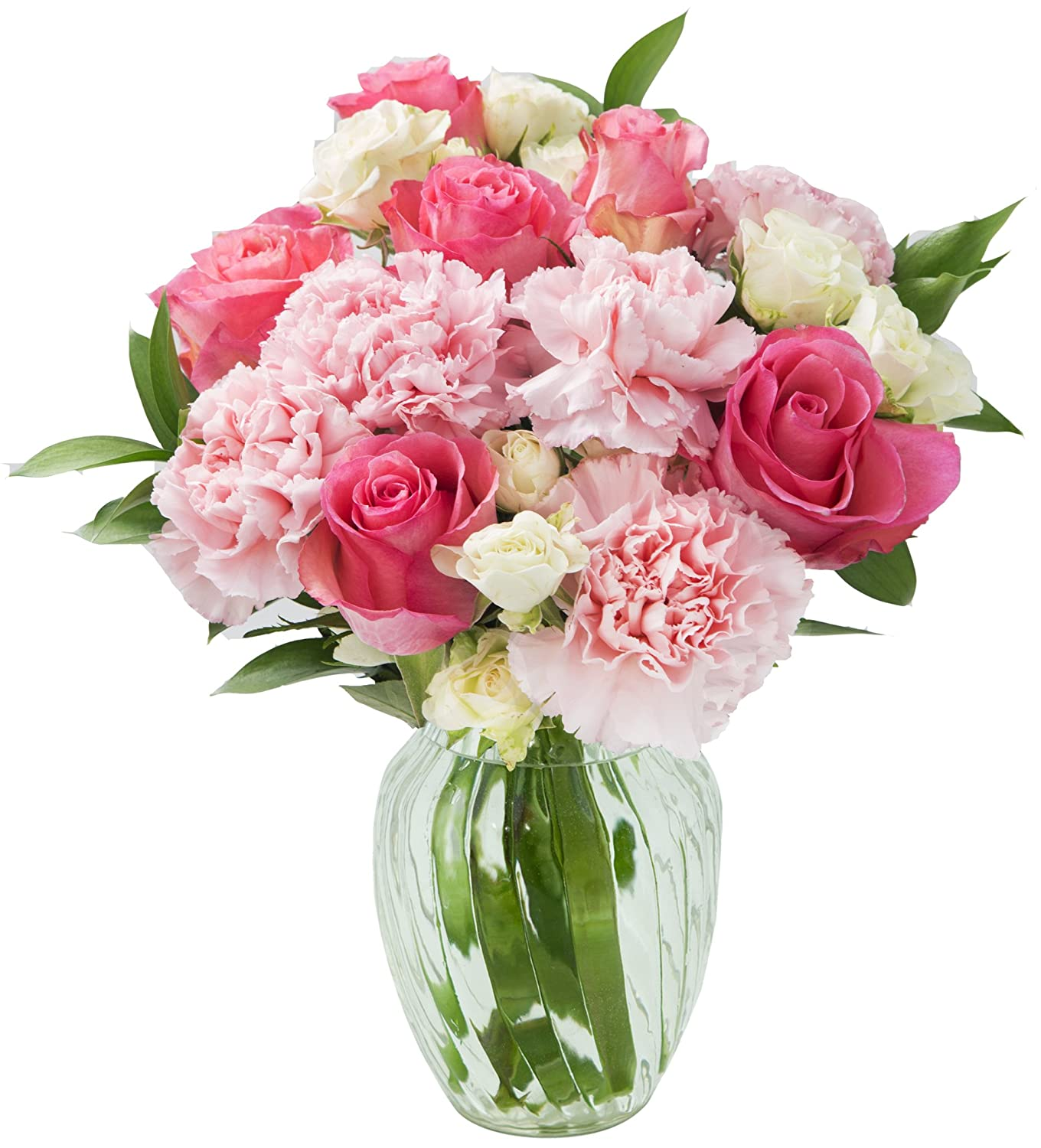 KaBloom Pretty in Pink Roses and Carnations Accented with White Spray Roses  and Lush Greens without Vase