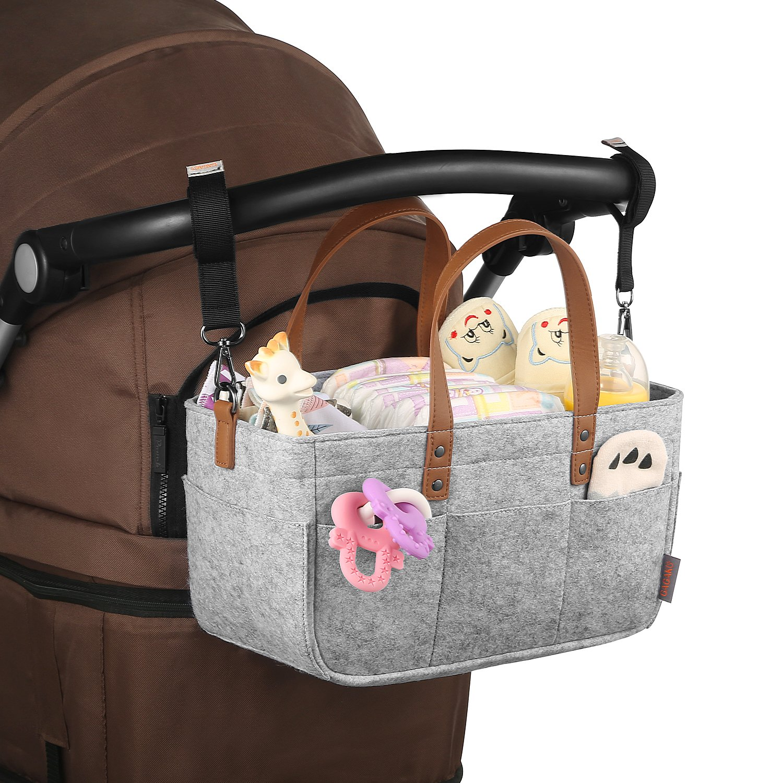 GAGAKU Baby Diaper Caddy Tote Portable Nappy Basket Stroller Organizer Diaper Storage Bin for Car Travel Gray