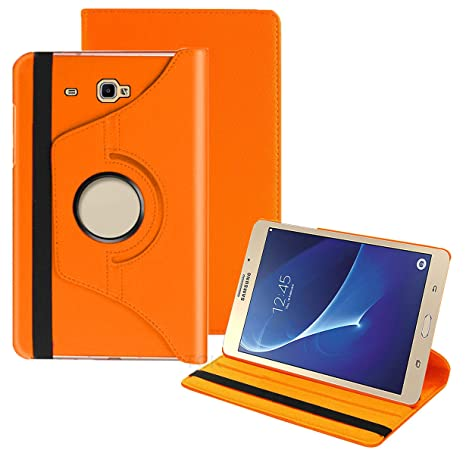 TGK 360 Degree Rotating Leather Smart Rotary Swivel Stand Case Cover for Samsung Galaxy TAB J Max 7 inch/Tab A 7.0 inch SM  T280, T285  Orange  Bags,C