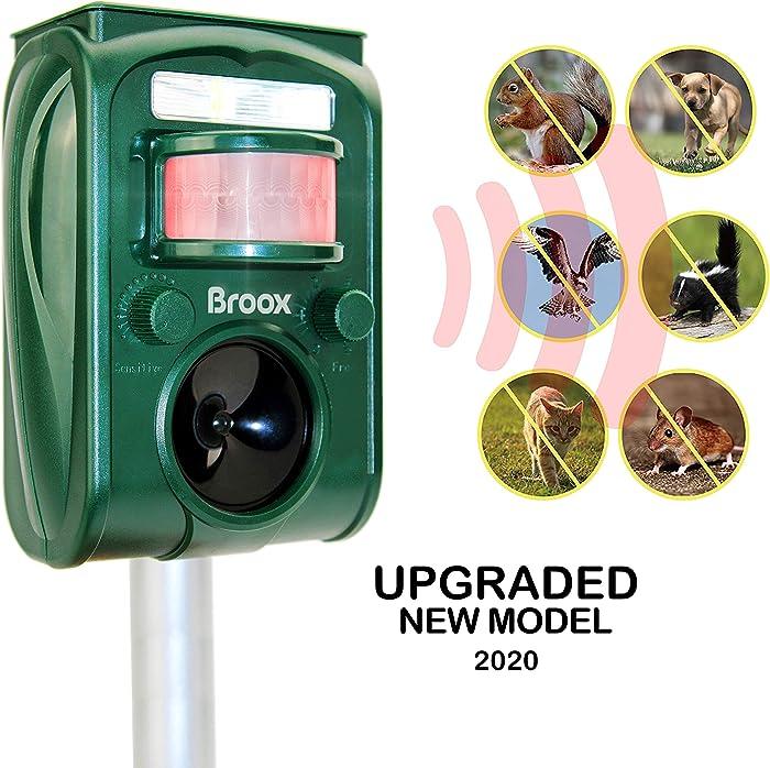 Broox Solar Animal Repeller, Ultrasonic Animal Repellent Outdoor, Waterproof, Motion Detector, Flashing Light, Dog, Cat Repellent Outdoor, Squirrel, Raccoon, Skunk, Rabbit, Rat, Mole, Deer, Birds