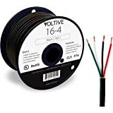Voltive 16/4 Speaker Wire - 16 AWG/Gauge 4 Conductor - UL Listed in Wall (CL2/CL3) and Outdoor/In Ground (Direct Burial…