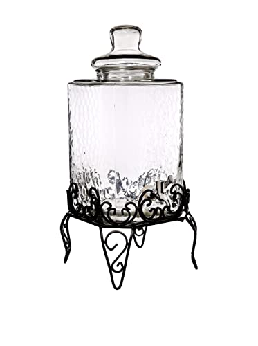 Glass Beverage Dispenser With Rack
