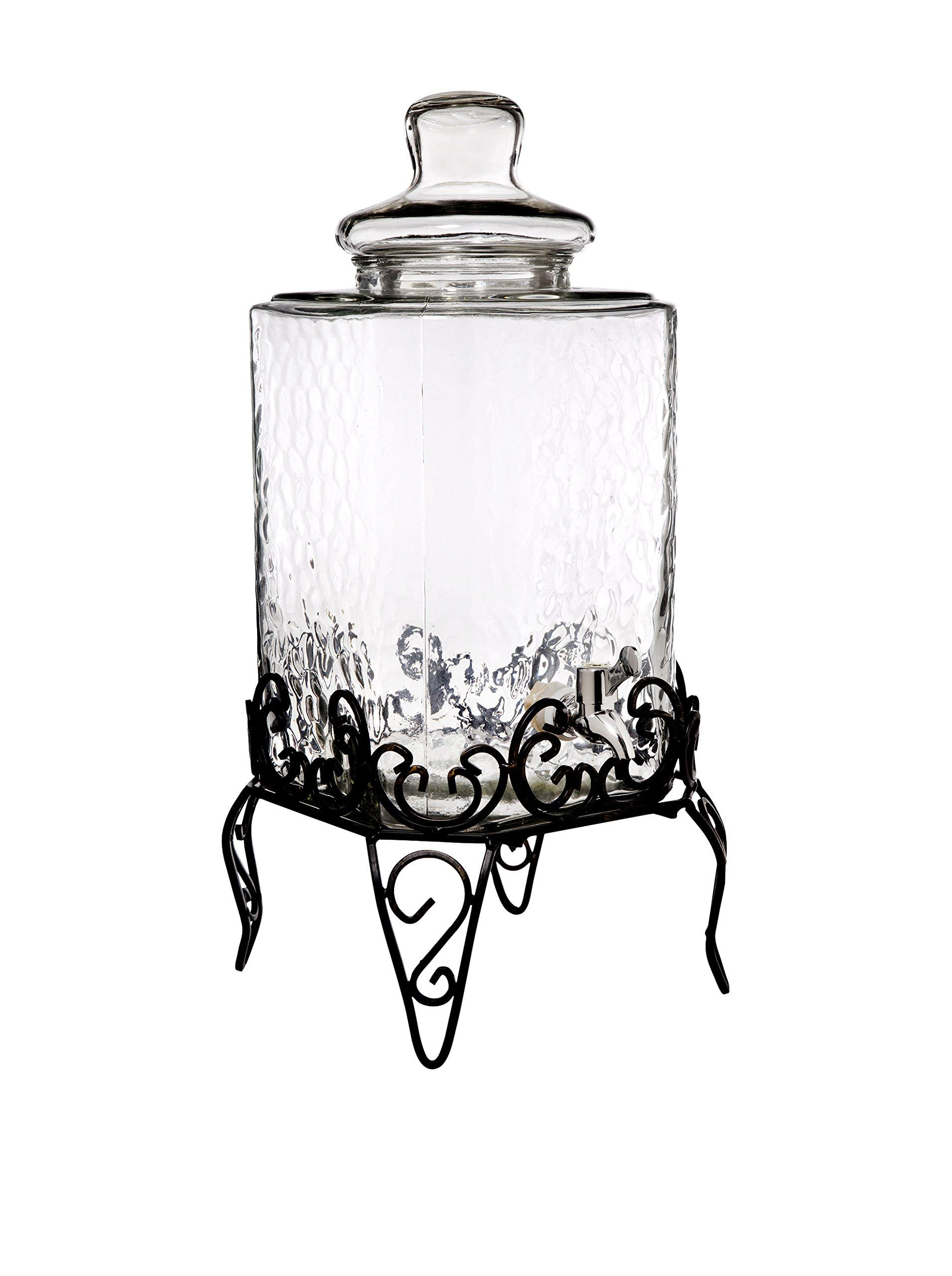 Home Essentials & Beyond 1868 Del Sol Hammered 2.25 gallon Beverage Dispenser with Rack, Clear by Home Essentials & Beyond (Image #1)
