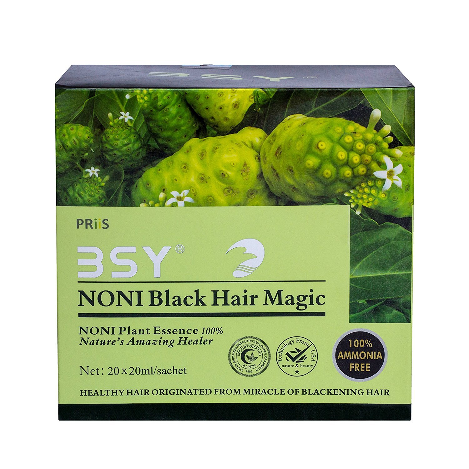 BSY NONI ORIGINAL Black Hair Magic - Hair Dye Shampoo (20x20ml Sachets) by BSY NONI (Image #2)