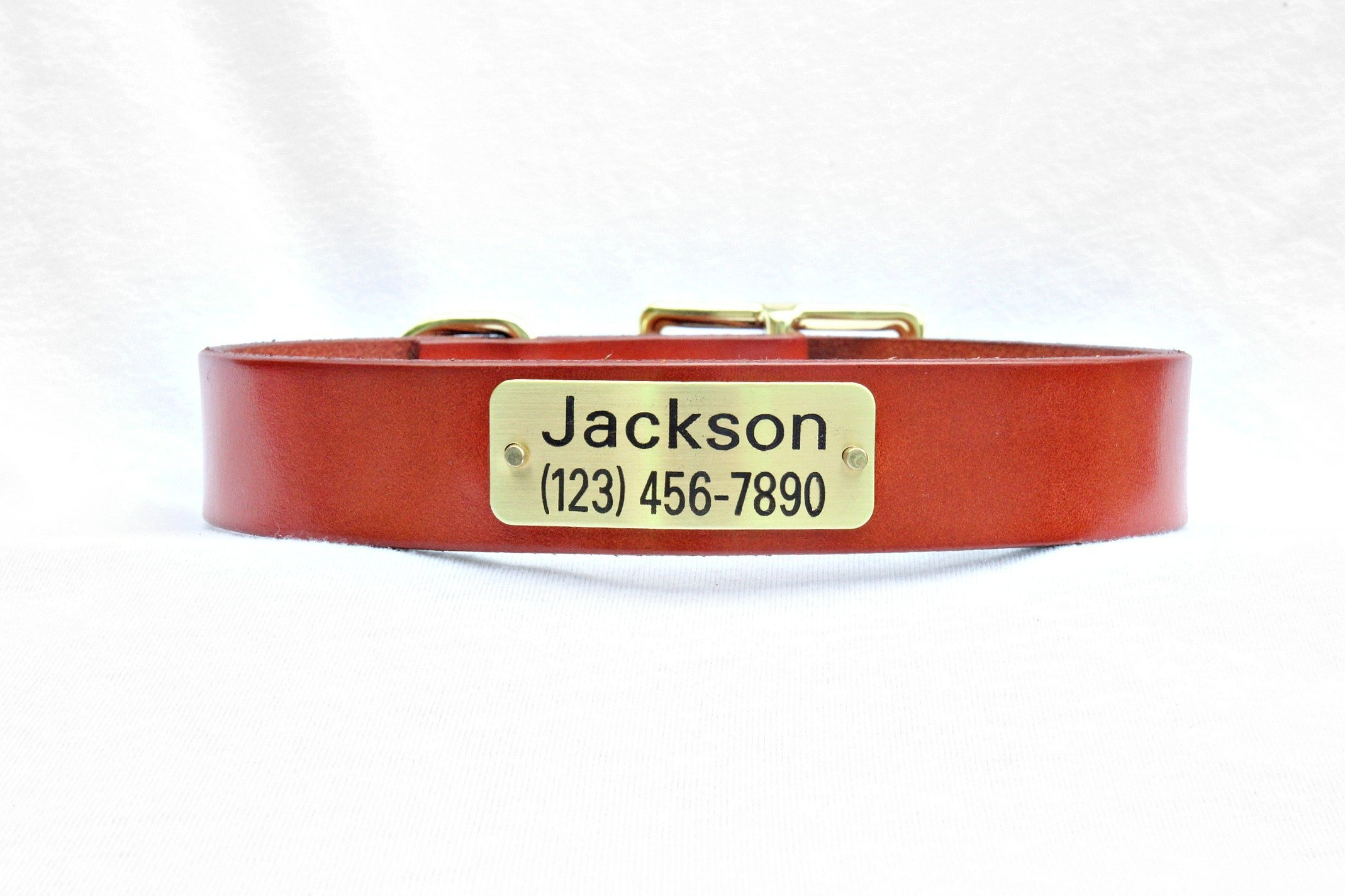 Magnus Leather Dog Collar 1'' leather with ID plate (Medium 11''-14'' Hole Measurement, Dark Tan)