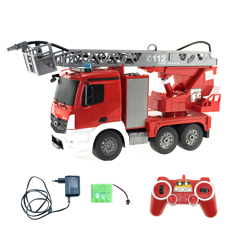 Efaso 1 20 RC Feuerwehr Feuerwehr Feuerwehr Leiterwagen - Mercedes Antos Lizenzmodell E527-003 - 2,4 GHz Rettungsfahrzeug mit Blaulicht und Sirene, beweglicher Leiter und Wasserspritze 14aa21