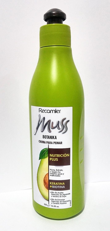 Amazon.com : Recamier Muss Botanika Crema para Peinar Nutricion Plus para Cabellos Secos y Maltratados Combing Cream for Dry and Damaged Hair 300g / 10.58 ...