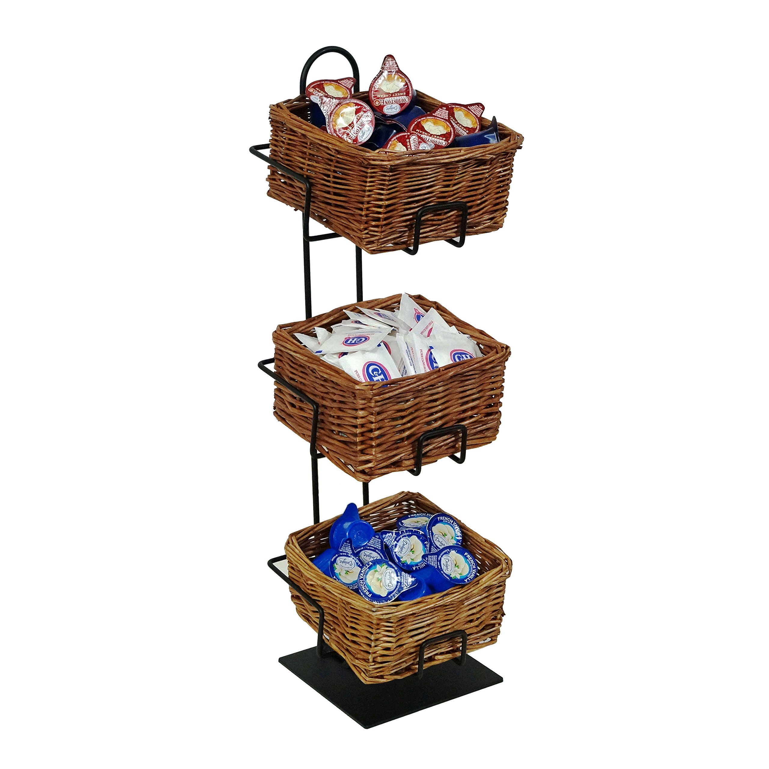 3-Tier 3 Rectangular Willow Basket Counter Display Rack by Mobile Merchandisers (Image #1)