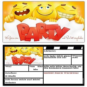 12 Smiley Einladungskarten Im Set Zum Ausfullen Coole Emoji