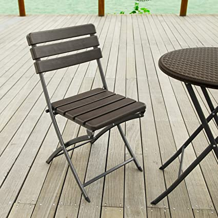 Charmant Adeco 2 Piece Folding Bistro Style Patio Chairs Brown, Set Of 2