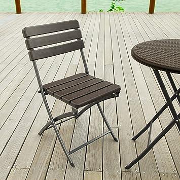 amazon com adeco 2 piece folding bistro style patio chairs brown