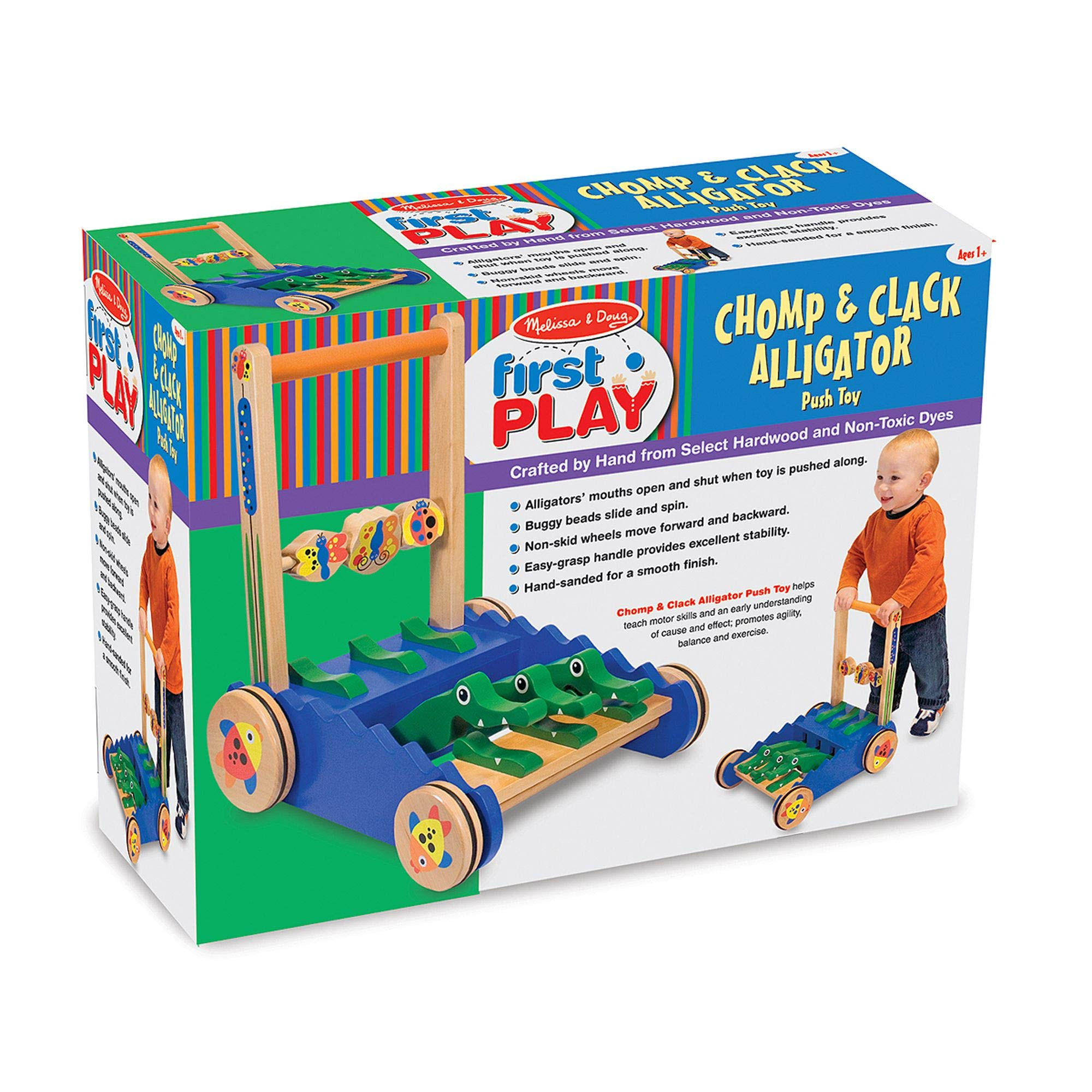 Melissa & Doug Deluxe Chomp and Clack Alligator Wooden Push Toy and Activity Walker by Melissa & Doug (Image #7)