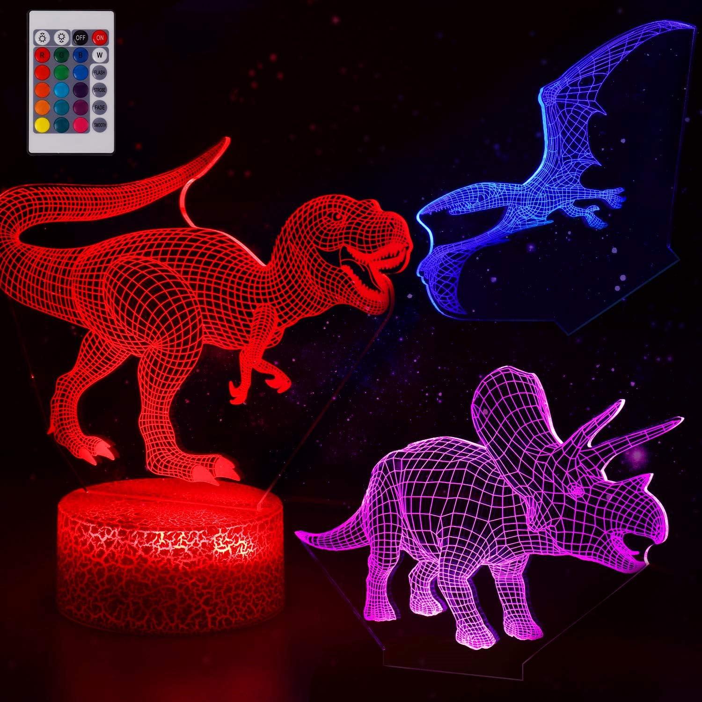 3D LED Night Light T-Rex Jurassic Park Dinosaur Series Table Desk Lamp Kids Gift