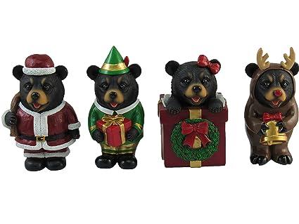 "Set of 4 Christmas Miniature Bear Figurines Holiday Ornaments 4"" Tall    Cute Black Bear - Amazon.com: Set Of 4 Christmas Miniature Bear Figurines Holiday"