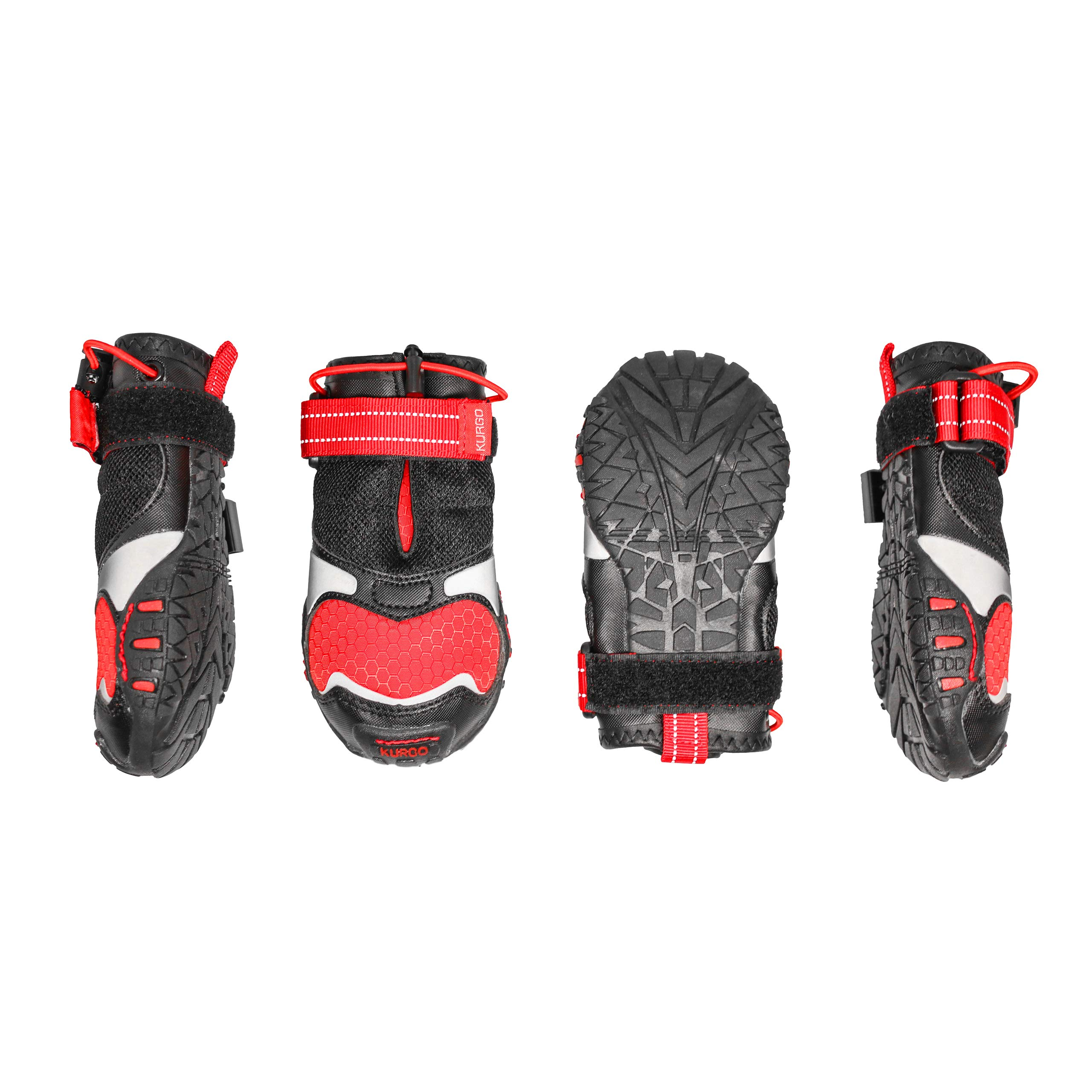 Kurgo Blaze Cross Dog Shoes, Dog Boots, Water Resistant Dog Shoes, All Season Paw Protectors, Reflective Dog Snow Boots, Medium, Red/Black