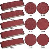 Aluminum Oxide Sanding Belts - 10 Pieces 4 x 36 Inch Sanding Belts (80/120/150/240/400 Grits) and 12 Pieces 6 Inch Self Stick