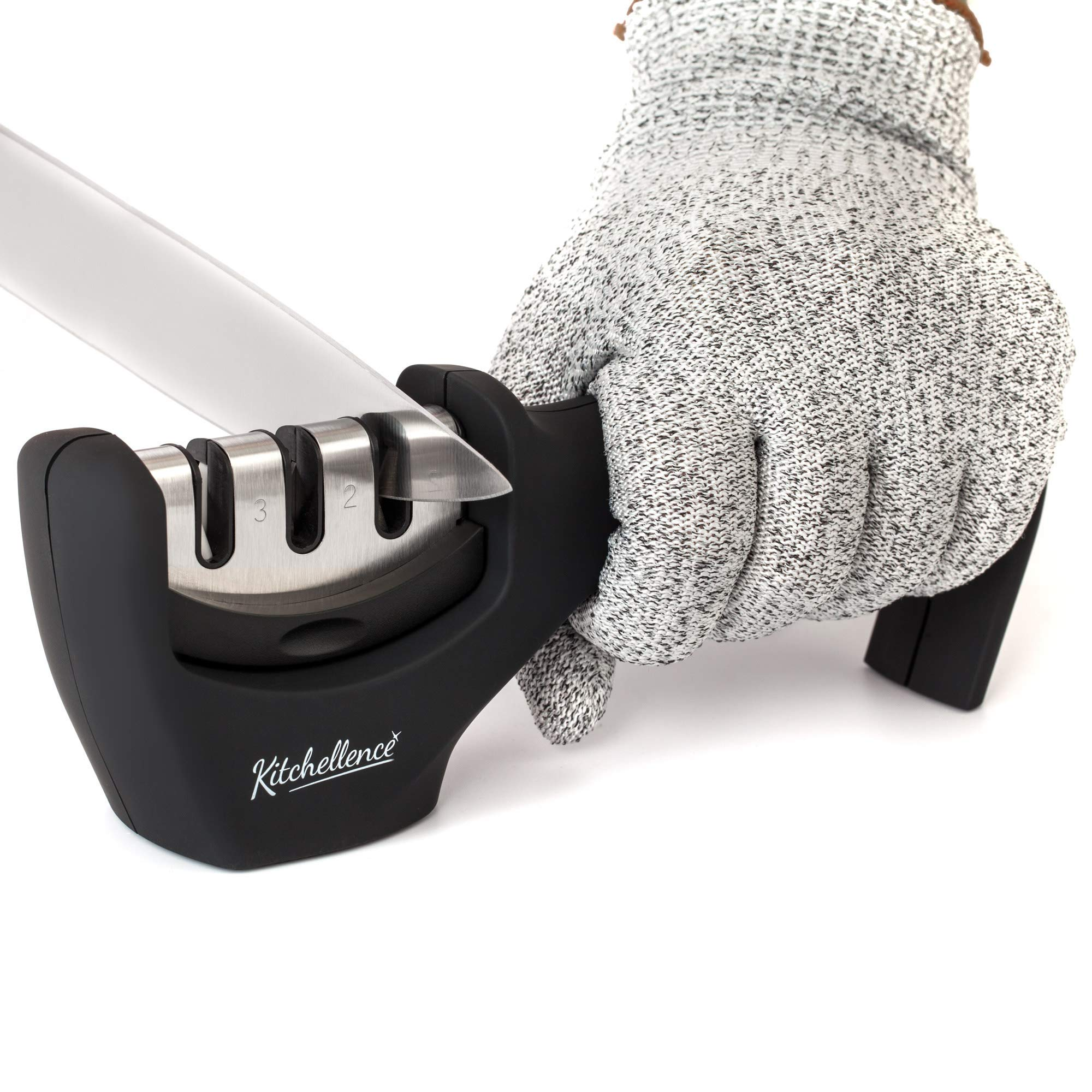 KITCHELLENCE Kitchen Knife Sharpener - 3-Slot Knife Sharpening Tool Helps Repair, Restore and Polish Blades - Cut-Resistant Glove Included
