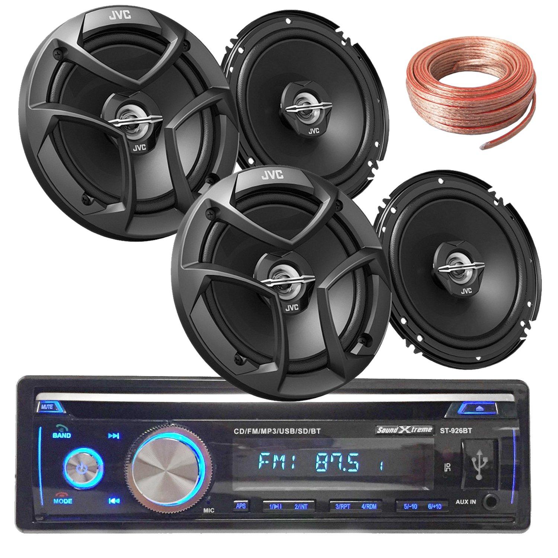 PACKAGE- (2) JVC CS-J620 300W 6.5'' 2-Way Coaxial Car Speakers + ST-926BT Bluetooth Media CD Receiver + 18 Gauge 100FT Speaker Wire
