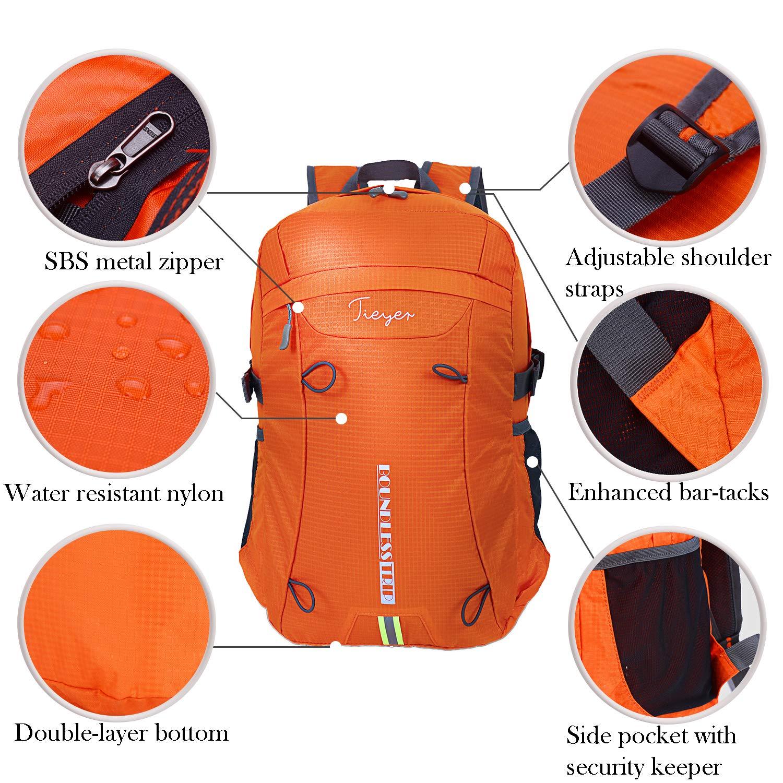 tieyer Waterproof Outdoor Foldable Handy Light Weight Travel Hiking Backpack,pocketable daypack (orange)