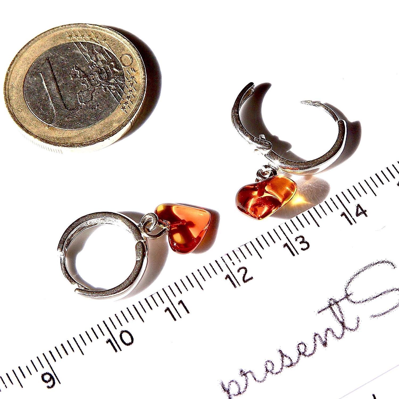 Solid Sterling Silver 925 14.5mm Hoop Amber Hearts Drop Earrings