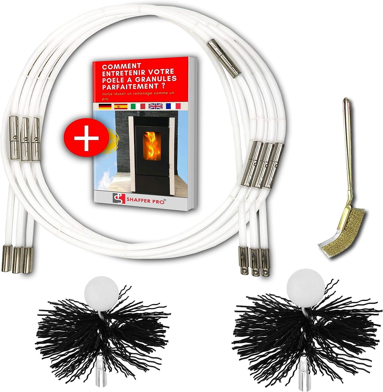 Shafer Pro - Kit de deshollinador para pellet (9 m, hierba deshollinada, 80 mm, 100 mm, incluye libro electrónico para estufa de pellets gránulos), 15 bastones de deshollinado flexible Home Kit